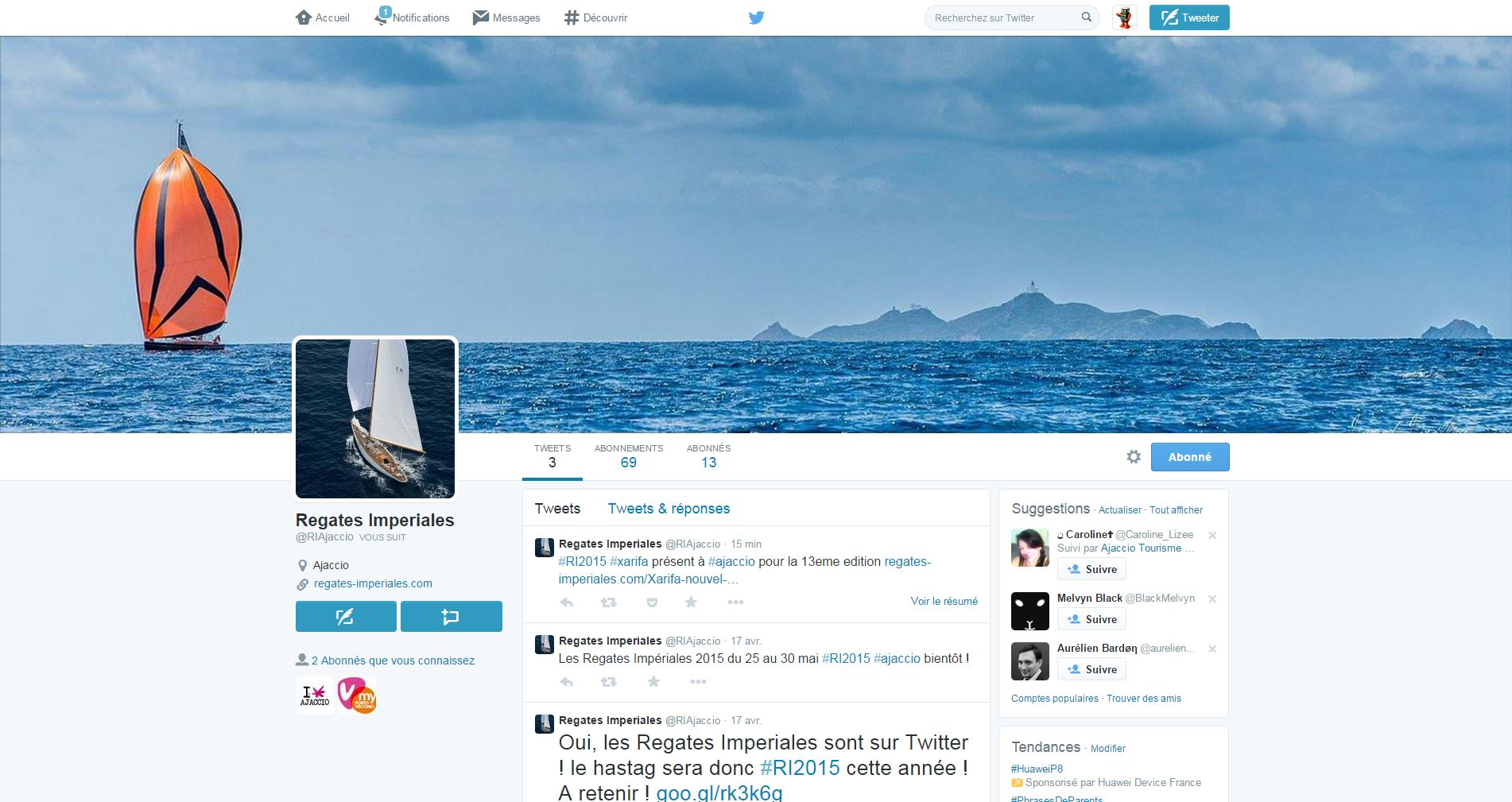 Suivez les Regates Impériales sur Twitter #RI2015
