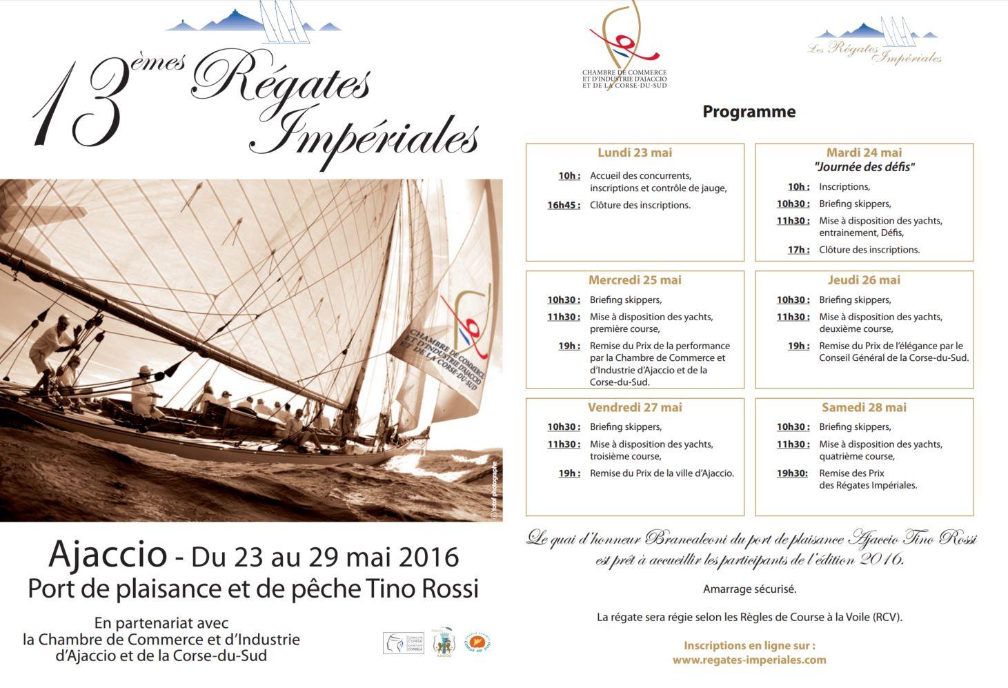 Le programme des Régates Impériales 2016